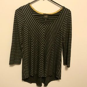 W5 Black Stripe 3/4 Sleeve High Low Top Small
